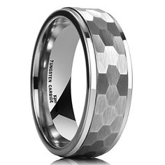 King Will 8mm Tungsten Carbide Ring Hammered Comfort Fit Step Edge Faceted Men Wedding Band (7)
