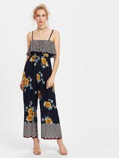 Florals Frill Layered Wide Leg Cami Jumpsuit -SheIn(Sheinside)
