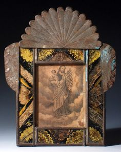 Beautiful reverse painted glass devotional image of saint Joseph with the child jesus. My guess is either Mexico or Peru. Very interesting Mexican Artists, Mexican Folk Art, Milagros Charms, Catholic Altar, Colonial Art, Mexico Art, Tin Art, Assemblage Art, Religious Art