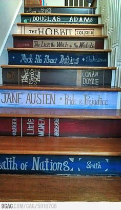 The stairs of a book lover.  If I ever move and have stairs like this, I will DEFINITELY be doing this!