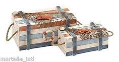 Wood Box Set of 2 Nautical Seashore Crab Marine Home Decor Free Shipping New