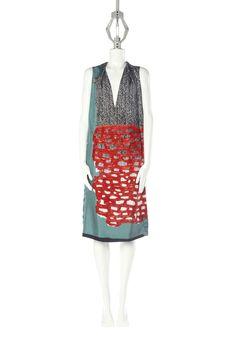 BALENCIAGA CELADON/RED MAILLAGE CHEVRON TWILL DRESS