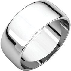 14kt White 8mm Half Round Light Band