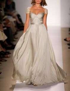Sparkle cap sleeved wedding dress in silk satin with a sweetheart neckline