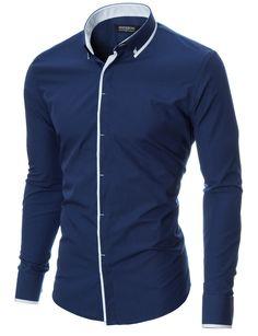 MODERNO Slim Fit Casual Langarm Herrenhemd (MOD1445LS) Blau