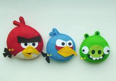 Angry Birds, Angry Birds collection, Cute Angry Birds felt , Green Pig from Angry Birds,Yellow Angry Bird, Red Angry Bird Hat