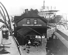 Okanagan Landing with the SS Sicamous being built (circa Victoria Vancouver Island, Canadian History, Local History, Vernon Bc, Rail Car, Vintage Pictures, Historical Photos, British Columbia, Train Stations
