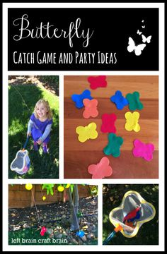 Butterfly Catch Game and Birthday Party Ideas.  Filled with fun gross motor play, activities, food, favors and more!