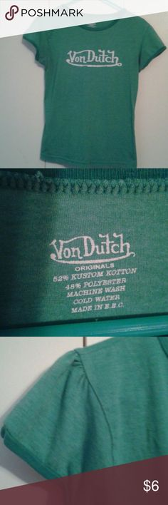 Von Dutch women's tee Green, vintage style Von Dutch tshirt with flattering cut and feminine detailed sleeves. Von Dutch  Tops Tees - Short Sleeve
