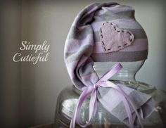 Upcycled Newborn Elf  Hat, Photo prop, Lilac and Gray./ Ready to ship.. $11.00, via Etsy.