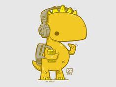 Walkman Dinosaur by Jetpacks and Rollerskates #Design Popular #Dribbble #shots