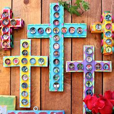 Make Mexican Folk Art with bottle caps and scrap wood!