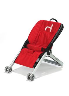Clever little baby bouncer with wheels for easy moving. Maybe not ideal for plane travel, but pretty light and compact for car trips.