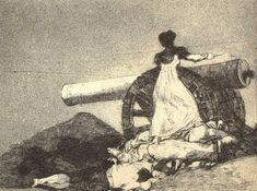 "This print from the ""Desastres de la Guerra"" series by Francisco de Goya depicts Agustina de Aragón, a real life female guerilla fighter of the Napoleonic wars who was the inspiration for the character of Teresa."
