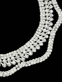 Silver Rhinestone Choker Necklace And Earring Set