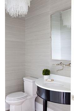 Grasscloth on pinterest wallpapers wallpaper designs for Grey bathroom wallpaper