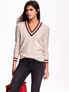 Women's Varsity V-Neck Sweaters Product Image  Old navy