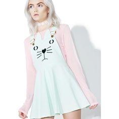 Kawaii Kitten Overall Dress ($40) ❤ liked on Polyvore featuring dresses, skater skirt, circle skirts, flared skirts, panel dress and blue skater skirt
