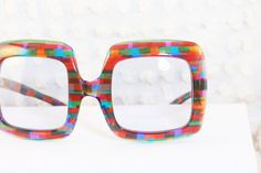 Rainbow Square 1960's Oversize Sunglasses Thick by THAYEReyewear