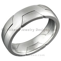 "Two Tone Modern Puzzle Ring - The Modern Puzzle Ring is similar to the Mokume Puzzle Ring. The two rings interlock for an unusual and modern take on a man's wedding ring. 7mm wide. - This interlocking wedding ring features palladium (light cool gray) and 14k high palladium white gold (medium gray), which offers a very elegant contrast of colors between two ""white"" metals."