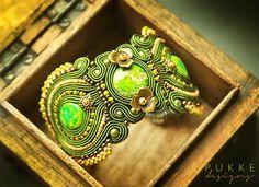 Moss color soutache bracelet RESERVED FOR O.A.