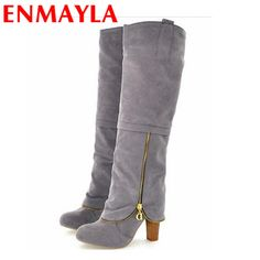 48.42$  Buy here - http://aligaj.worldwells.pw/go.php?t=1931899253 - ENMAYLA Flock Knee-High Slip-On Chains Round Toe Square High Heels Solid 3 Colors Women Shoes New Style Winter Women Long Boots