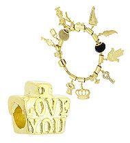 Berloque folheado a ouro c/ detalhe escrito I Love You (Pandora inspired)-Clique para maiores detalhes