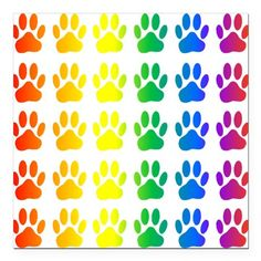 """Sold! Rainbow Paw Print Patter Square Car Magnet 3"""" x 3"""" on CafePress.com . (Mai 4) #pets #colorful"""