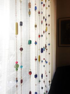 BOHO CHIC Earthy Sun Catcher, Glass Beaded Wind Chime, Window Curtain, Beaded Curtain, Door Curtain, Colorful Beaded Garland