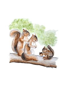 This squirrel nursery art is a giclee print of my original squirrel watercolor depicting a sweet squirrel family with the baby squirrel holding a