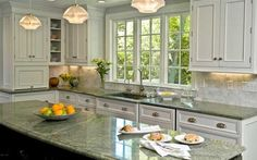 10 Outstanding Examples of Granite Kitchen Countertops Ideas - ARCHLUX.NET - 10 Outstanding Examples of Granite Kitchen Countertops Ideas – Modern Kitchen Countertop Ideas (F - Green Granite Kitchen, Green Granite Countertops, Outdoor Kitchen Countertops, Small Kitchen Cabinets, Galley Kitchen Remodel, White Cabinets, Kitchen Remodeling, Kitchen White, Remodeling Ideas