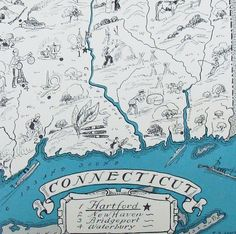 1931 - Connecticut - A Fun and Funky Little Vintage Picture Map....