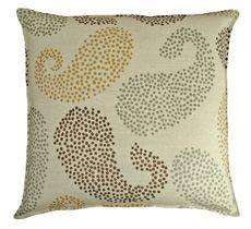 20x20 chocolate paisley wheat linen pillow