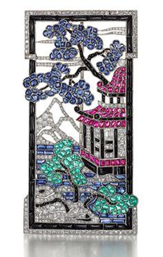 Art Deco Gem-Set and Diamond Pendant Brooch by Van Cleef & Arpels, Paris, 1924