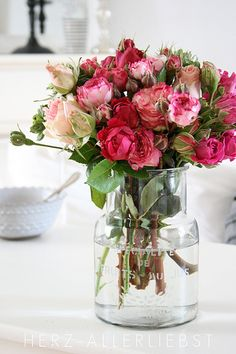 A bouquet of beautiful roses with different shades of pink. My Flower, Fresh Flowers, Pretty Flowers, Cactus Flower, Exotic Flowers, Purple Flowers, Deco Floral, Arte Floral, Colorful Roses
