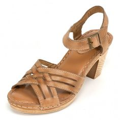 "<b> Leather strappy sandal with a block heel, contrast stitching, adjustable ankle strap and working buckle.</b> Cause a roar with these attitude filled strappy sandals- both cute and comfortable. <P><BR><B>Heel height: 3""</b>"
