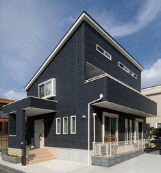 施工例_旭トステム外装 Japanese Modern House, Exterior Paint Colors, Facade, Life Hacks, Mansions, House Styles, Outdoor Decor, Image, Detail