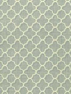 Quatrefoil Wallpaper | CHATHAM HOUSE | 11248361 | AmericanBlinds.com | blue-grey with cream quatrefoil lattice pattern | also comes in brown w. gold, light gold w. dark gold & olive w. tan