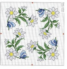 Cross-stitch Daisy Biscornu... no color chart available, just use pattern chart as your color guide.. or choose your own colors..