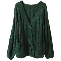 Chunky Cable Knit Blackish Green Cardigan  (illyana borrows this one a lot)