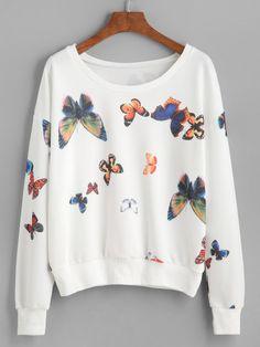 Sudadera con hombro caído y estampado de mariposa-Sheinside