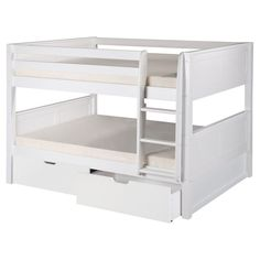 Found it at Wayfair - Camaflexi Full over Full Low Bunk Bed with Drawers and Panel Headboard Bunk Beds With Drawers, Bunk Beds With Storage, Bunk Bed With Trundle, Bunk Beds With Stairs, Bed Storage, Low Bunk Beds, Modern Bunk Beds, Kids Bunk Beds, Loft Beds
