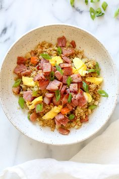"""Cauliflower Fried """"Rice"""" with Leftover Ham is a great way to use up that leftover ham from the Holidays, made with riced cauliflower to make it low-carb."""