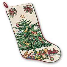 "Christmas Tree On Cream Needlepoint Christmas Stocking 7.5"" x 18"""