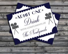 Drinks Token Black and White Wedding/Party by HelenScottDesign