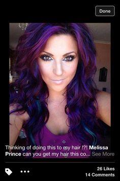 Great purple chunks of color on dark auburn hair with light blue highlights! LOVE IT!!
