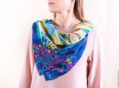 """Купить Шелковый платок """"Сон в летнюю ночь"""" - синий, платок шелковый, платок батик"""