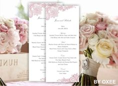 Printable Wedding menu template | Vintage Old fashioned Pink Lace by Oxee , DIY editable, Word | print yourself