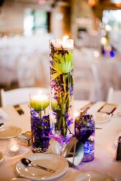 wedding reception centerpieces, but w/ fall flowers Baby Wedding, Purple Wedding, Wedding Flowers, Fall Flowers, Yellow Flowers, Wedding Blog, Wedding Stuff, Winter Centerpieces, Wedding Reception Centerpieces