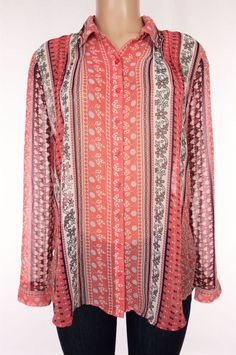 FREE PEOPLE New Moonlight Mile Top Size M Medium Coral LS Sheer Blouse $99 #FreePeople #ButtonDownShirt #Casual